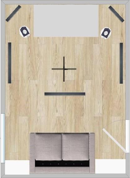 Raum mit seitlichen, Eckabsorbern und Bücherregalen